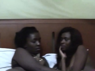 Two slutty unprofessional ebony chicks lick each other vaginas in