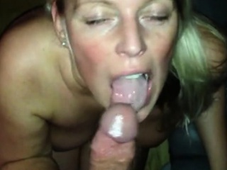 Blonde milf housewife passionate blowjob connected with pov flick