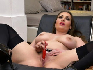 Femorg MILF with Big Naturals Solo Objurgation all over Orgasm
