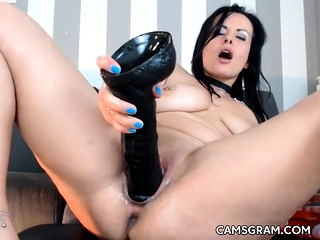 Error-free Shaved Battle-axe Fuck Her Tight Kitty With Dildo