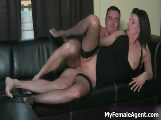 Horny milf boss gets her tight pussy part1