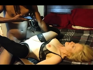 Latina MILF all round sexy white underclothing and stockings