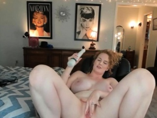 Redhead with big boobs riding flannel