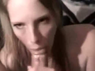 X bitch gives pov blowjob with an increment of handjob