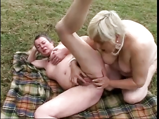 Old ladies with flabby bodies lick each other