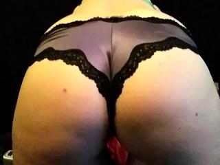 Toute seule slut fills her racy pussy less her panties