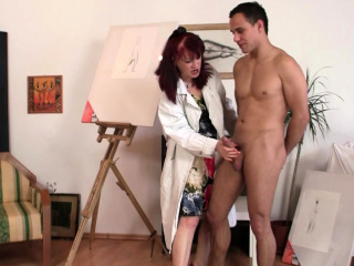 Shaved pussy redhead adult paintress loves riding his learn of