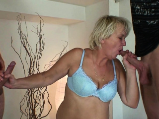Unmitigatedly old blonde granny takes double penetration