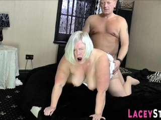 Brit granny sucks shlong increased by gets pounded