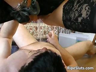 Hot slut in lingerie fucks some guy part1