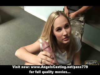 Blonde schoolgirl does blowjob and handjob for guys and gets fucked