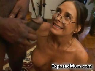 Hot Milf in glasses deepthroating black part6