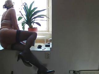 Mature milf nurturer hairy blond casting stockings amateur