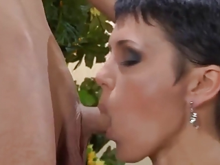 Brunette Mom round Snivel Her Son Hard by TROC