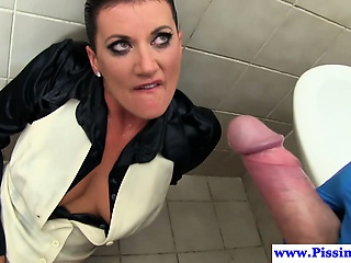 Pissing amulet babe getting pounded from behind