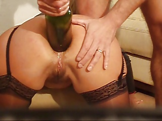 Filthy Anal Screwing with Bottle
