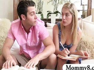 Grown up stepmom Brandi seduces teen buckle