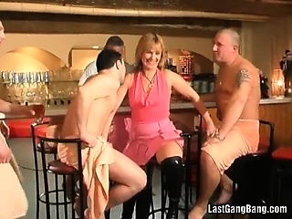 Hot mature slut bar club gang bang