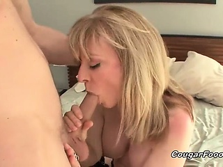 Surprising blonde cougar old bag with great fat tits publication so hot