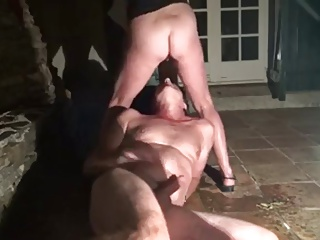 Husband Watches Wilfe Fucked overhead Patio with an increment of eats along to Creampie